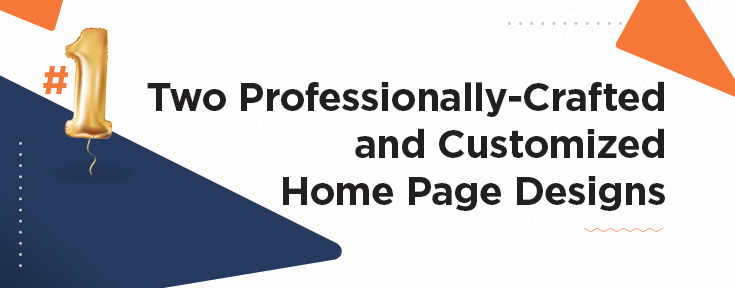 Two Professionally-Crafted and Customized Home Page Designs