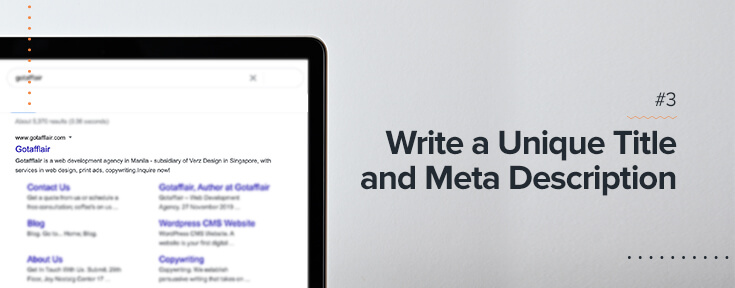 Write unique title & meta description to optimize your website for SEO