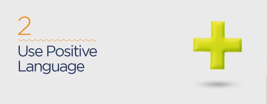 Use positive language in website tagline